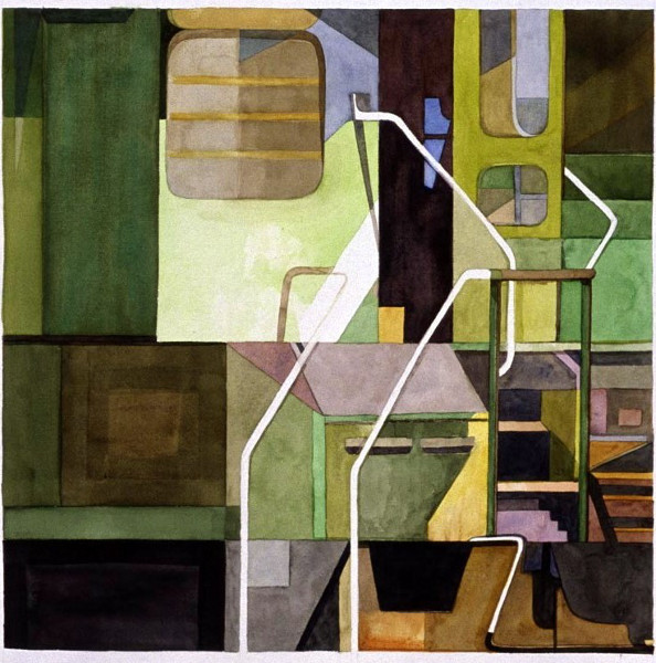 "Train Composition 2 22""X30"" Selected for the National Watercolor Society Exhibition 2001"