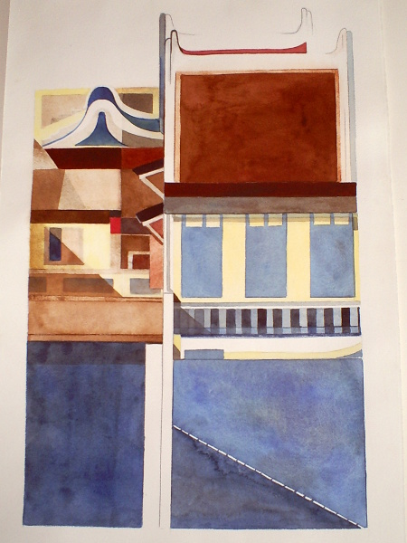 "Singapore Shop Houses 4 15""X22"" Sold"